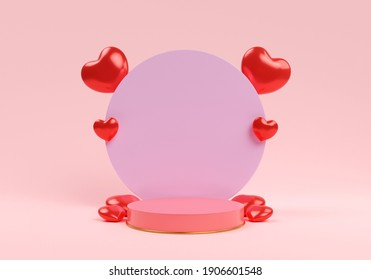 Pink podium and red heart. valentine concept. 3d illustration. - Shutterstock ID 1906601548