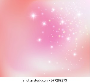 Pink princess background. Magic Happy Holidays lights sparkling pixie dust background stardust. Purple pink love fairy tale postcard concept.