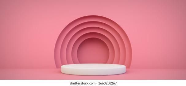 presentación de producto rosa escena 3d