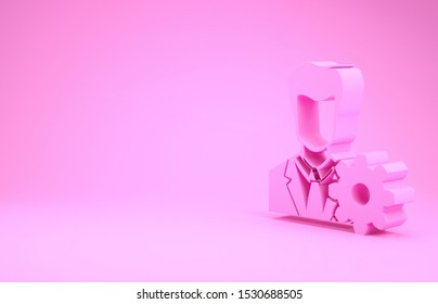 Pink Profile settings icon isolated on pink background. User setting icon. Profile Avatar with cogwheel. Account icon. Male person silhouette. Minimalism concept. 3d illustration 3D render