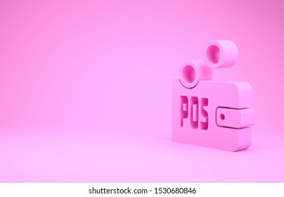 Pink Proof of stake icon isolated on pink background. Cryptocurrency economy and finance collection. Minimalism concept. 3d illustration 3D render
