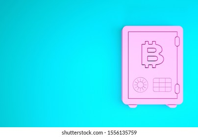 Pink Proof of stake icon isolated on blue background. Cryptocurrency economy and finance collection. Minimalism concept. 3d illustration 3D render