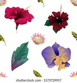 Pink Protea. Yellow Banana Leaf. Red Hibiscus. Red Rose Mallow. Green Dracaena. Purple Orchid. Illustration. Seamless background pattern. Floral botanical flower. Wild leaf wildflower isolated.