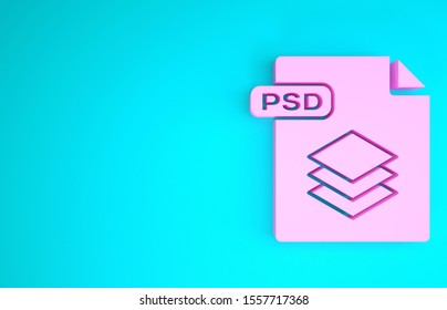 Pink PSD file document. Download psd button icon isolated on blue background. PSD file symbol. Minimalism concept. 3d illustration 3D render