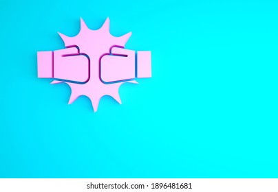 Pink Punch in boxing gloves icon isolated on blue background. Boxing gloves hitting together with explosive. Minimalism concept. 3d illustration 3D render.