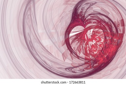 Pink and purple broken heart fractal with spiral lines on white background