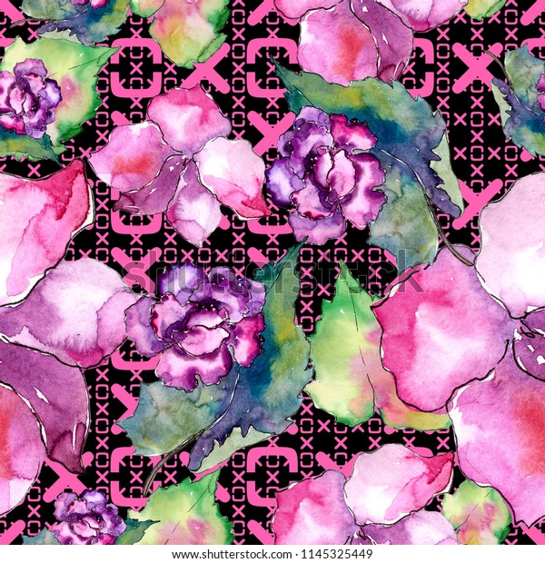 Pink Purple Gardania Floral Botanical Flower Stock Illustration