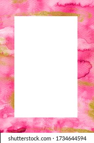 Pink purple and gold hand drawn vertical border template. Watercolor art creative layout with splashes, strokes, space for text. Perfect for wedding stationery, greeting, quote, social media, poster