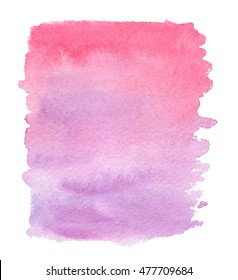 Pink to purple gradient painted in watercolor on clean white background