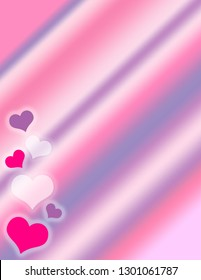 Pink, purple, and white valentine hearts side border on a pastel gradient background