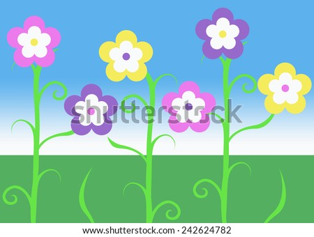 Pink purple yellow spring easter vine stock illustration 242624782 pink purple and yellow spring easter vine flowers illustration with green grass and blue sky background mightylinksfo