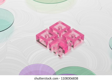 Pink Qrcode Glass Icon on the White Background. 3D Illustration of Pink Barcode, Code, Qr, Qrcode, Quick Response, Scan Icon Set on the White Painted Background.