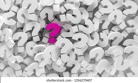Pink question mark on a background question marks. 3d illustration design abstract