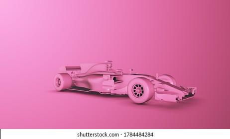 Pink Racing Car. 3D render