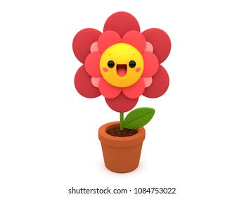 Pink and red cute flower 3D cartoon character, happily smiling inside a flower pot, on an isolated white background.