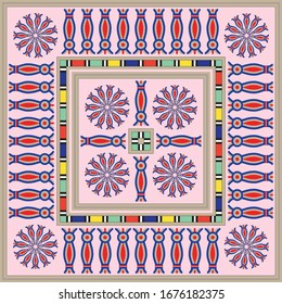 Pink Red Egypt Square Ornament. National Culture Decorative Foursquare Artwork.
