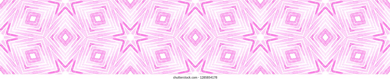 Pink red Seamless Border Scroll. Geometric Watercolor Frame. Amusing Seamless Pattern. Medallion Repeated Tile. Cute Chevron Ribbon Ornament.