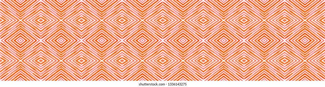 Pink red Seamless Border Scroll. Geometric Watercolor Frame. Amusing Seamless Pattern. Medallion Repeated Tile. Awesome Chevron Ribbon Ornament.