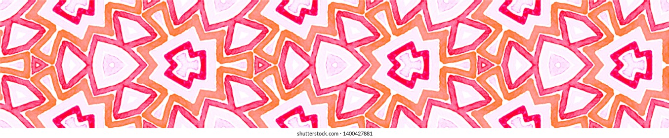 Pink red Seamless Border Scroll. Geometric Watercolor Frame. Amazing Seamless Pattern. Medallion Repeated Tile. Superb Chevron Ribbon Ornament.