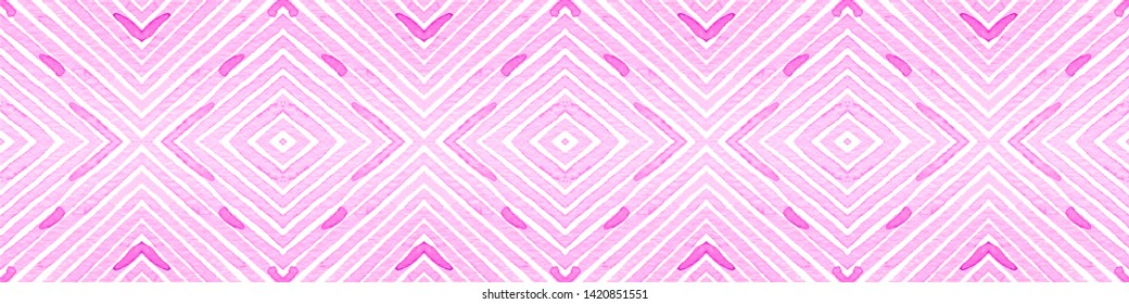 Pink red Seamless Border Scroll. Geometric Watercolor Frame. Amazing Seamless Pattern. Medallion Repeated Tile. Worthy Chevron Ribbon Ornament.
