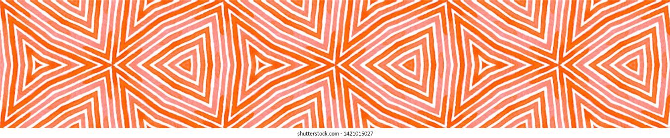 Pink red Seamless Border Scroll. Geometric Watercolor Frame. Amusing Seamless Pattern. Medallion Repeated Tile. Pretty Chevron Ribbon Ornament.