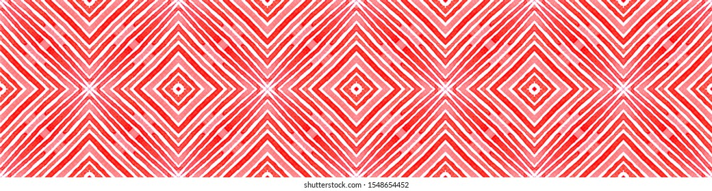 Pink red Seamless Border Scroll. Geometric Watercolor Frame. Appealing Seamless Pattern. Medallion Repeated Tile. Divine Chevron Ribbon Ornament.