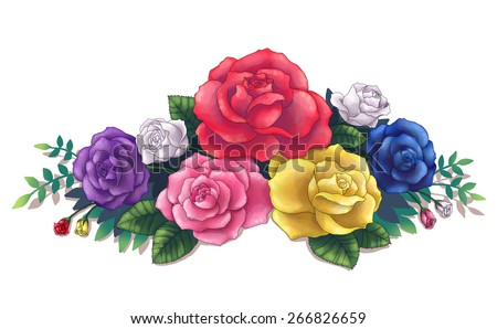 Royalty free stock illustration of pink red yellow blue purple pink red yellow blue purple colorful roses flower flora bouquet illustration art created by computer mightylinksfo