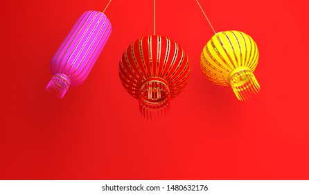 Pink, red, yellow chinese lantern lampion on red background. Design creative concept of chinese festival celebration gong xi fa cai. 3D rendering illustration.