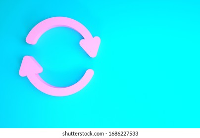 Pink Refresh icon isolated on blue background. Reload symbol. Rotation arrows in a circle sign. Minimalism concept. 3d illustration 3D render