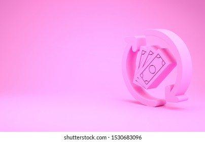 Pink Refund money icon isolated on pink background. Financial services, cash back concept, money refund, return on investment, savings account. Minimalism concept. 3d illustration 3D render
