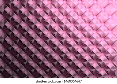 Pink repeating pattern with inverted pyramids triangles and circles. 3d illustration.