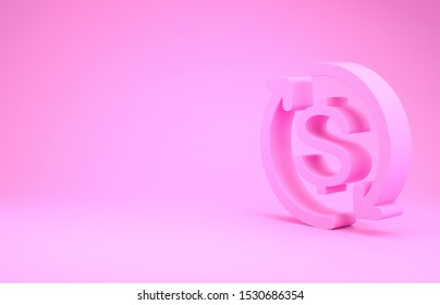 Pink Return of investment icon isolated on pink background. Money convert icon. Refund sign. Dollar converter concept. Minimalism concept. 3d illustration 3D render