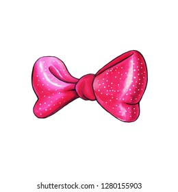 Pink Ribbon knot handdrawn raster illustration. Realistic purple gift bow drawing. Bowknot clipart. Cartoon bow-tie. Isolated color hairpin. Doodle hair accessory. Banner, greeting card design element