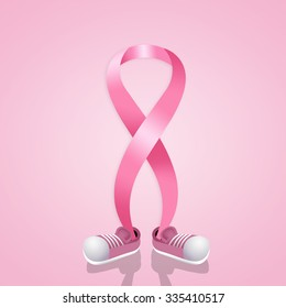 Pink ribbon with shoes