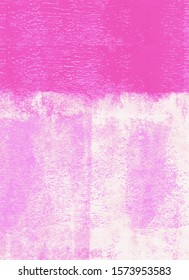Pink rolled paint on a wall background