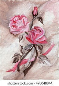 Pink rose and bud with tape, drawing on canvas