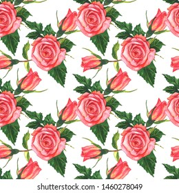 Pink rose floral botanical flower. Wild spring leaf wildflower. Watercolor illustration set. Watercolour drawing fashion aquarelle. Seamless background pattern. Fabric wallpaper print texture.