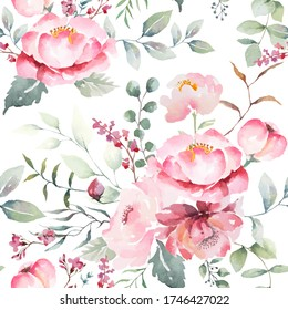 Pink rose flower seamless pattern abstract white color backgroud. Illustration watercolor hand drawing for fabric or packaging design