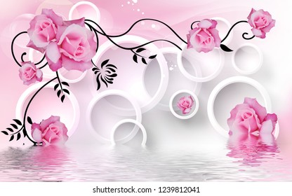 Pink rose flowers over lake in 3D ring decorative background 3D wallpaper