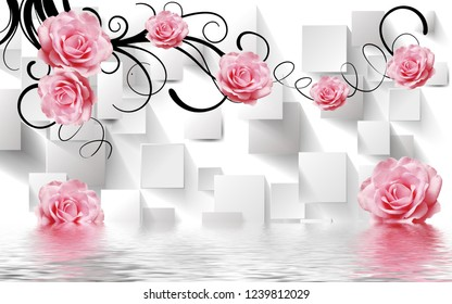 Pink rose flowers over water on decorative background 3D wallpaper