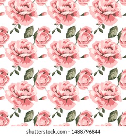 Pink Rose and green leaf pattern