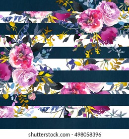 Pink rose and navy stripes  peonies bouquets background pattern.