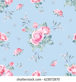 Pink roses bouquet watercolor seamless pattern. Shabby chic style