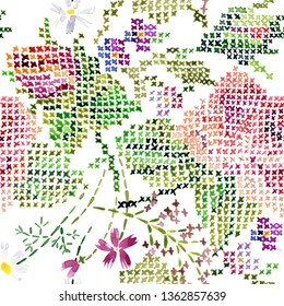 Pink roses seamless background. cross stitch floral pattern. vintage floral needlework illustration. watercolor flowers