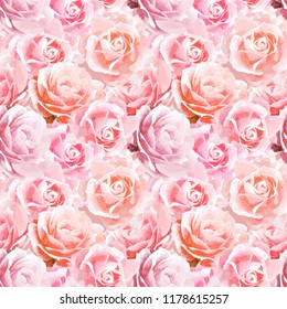 Pink Roses In Watercolor Seamless Pattern