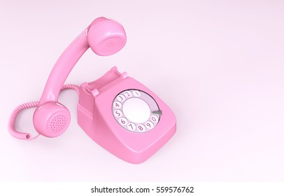 Pink Rotary Phone isolated on Pink Background. 3D illustration