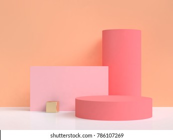 pink round podium orange abstract background 3d rendering