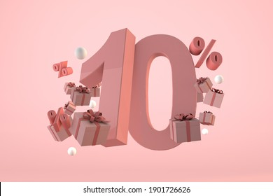 Pink Sale 10% off, Promotion and celebration with gift boxes and percentage. 3D announcement
