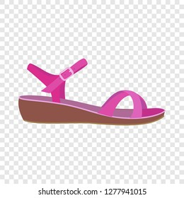 Pink sandal icon. Flat illustration of pink sandal icon for web design