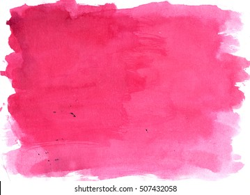 Pink saturated watercolor background, luscious palette. Abstract canvas with paper texture.